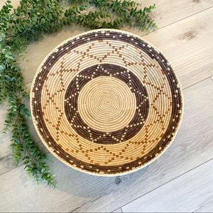 Vintage Handmade Southwest Aztec Print Coil Basket